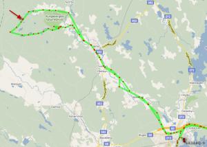 APRS track for SA3ARQ-9 on Google maps