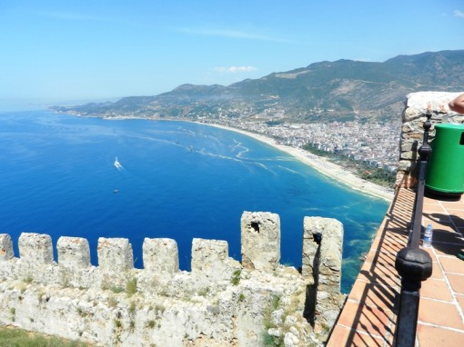 Kleopatra Beach from the castle at Alanya