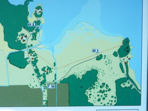 Map of the Ledskär area. Caches are the two yellow dots.