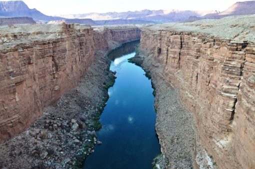 The colorado River running from the Navajo Bridge