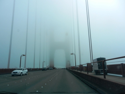 On the Golden Gate Bridge towards San Francisco