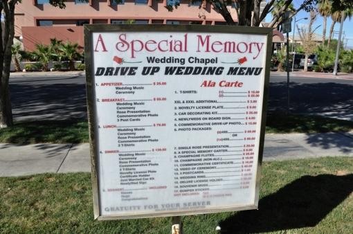 Las Vega drive up wedding menu (sic)