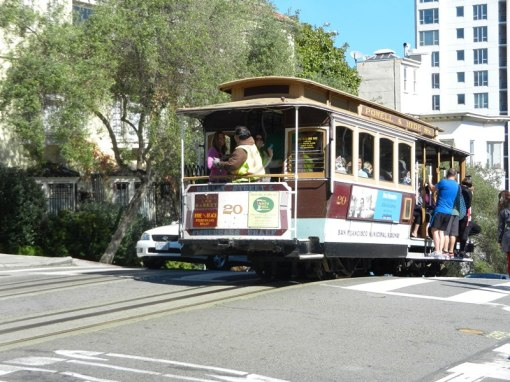 Streetcar at the top of a steep climb