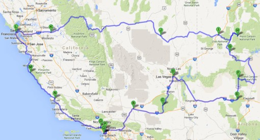 Our road trip went clockwise from Los Angeles which is also where it ended.