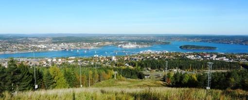 View over Sundsvall from Södra Berget