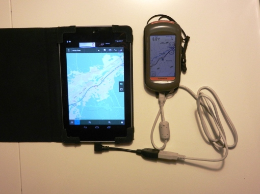 Nexus 7 connected to my Oregon 450 with an OTG cable