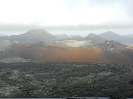 View over Timanfaya obscured by rain