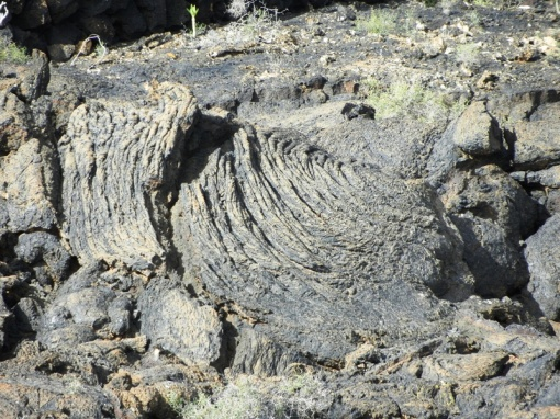 Rippled pattern on a flow of lava