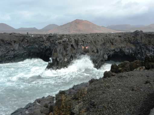 Rough sea at the basalt cliffs of Los Hervideros