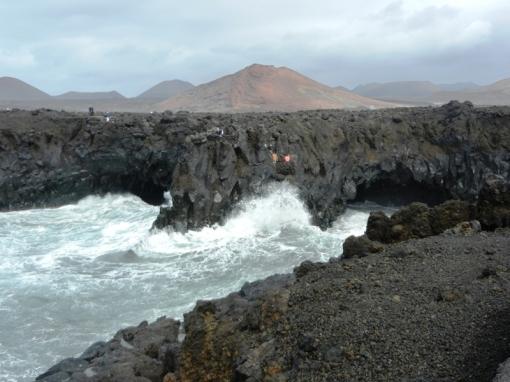 Rough sea at the basalt cliffs of Los Hervideros