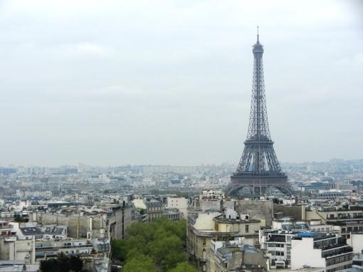 Eiffel tower as seen from the Arc de Triumphe