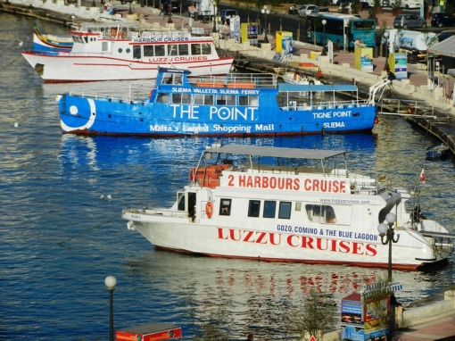 The blue boat is the ferry between Valletta and Sliema