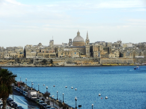 View towards Valletta from hotel balcony