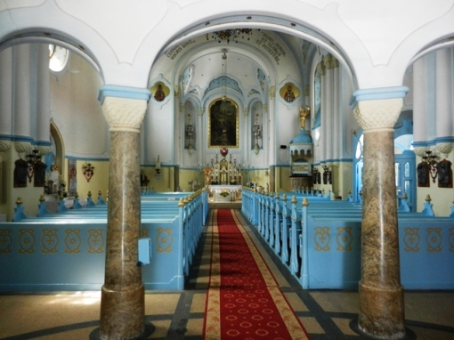 Even the inside of the church was blue