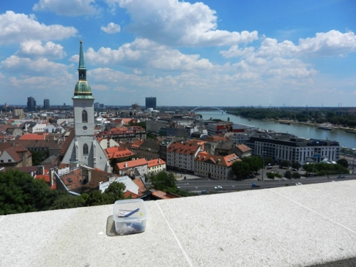 Cache on the parapet with a view over Bratislava