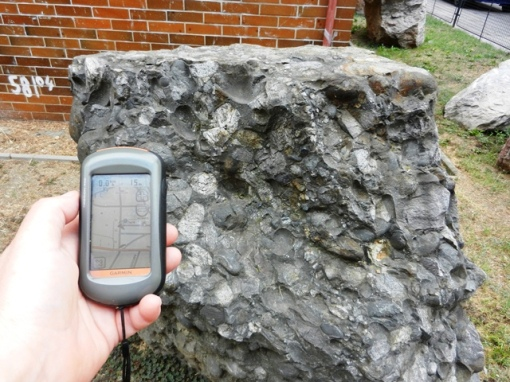 One of the large rocks at the Czech geological survey offices in Brno