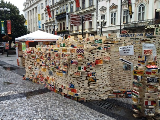 A pile of bricks to be painted for charity