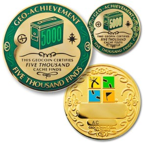 5000 finds geocachievement coin and pin