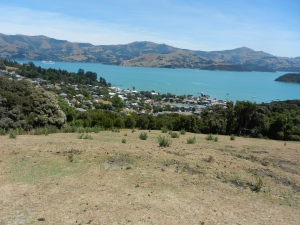 The view over Akaroa and the bay from Stanley Park