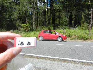 My Yaris rental car and the nine of clubs on the Know When to Hold 'Em power trail