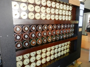 "A reproduction of the ""Bombe"" used to crack the Enigma cipher during WWII"