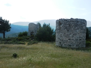 Two of the remaining windmill ruins at Mytilinii