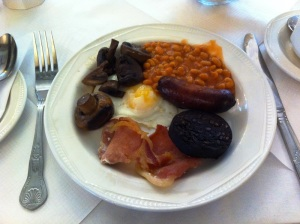 A real English breakfast. Just look at the cholesterol oozing out.