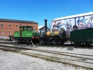 "Outdoor exhibits at MOSI: Replica of the locomotive ""Planet"" and ""Bolton"""
