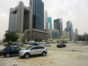 Some of many high rise buildings in Dubai - note the sand everywhere