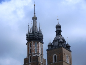The towers of St. Mary's Basilica. The left one is 81 m