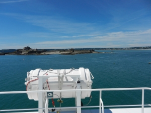 Leaving St Helier with Elizabeth castle in the background