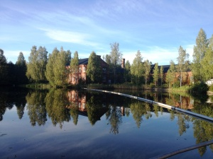 A mirror surface on the lake by the Hammarby paper mill